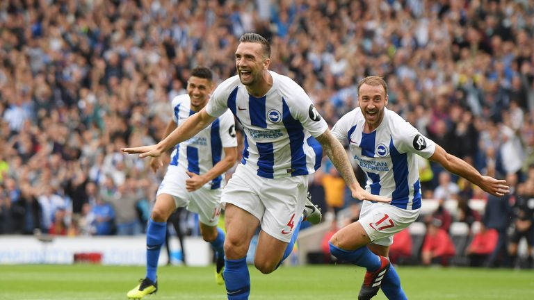 Shane Duffy celebrates after doubling Brighton's lead