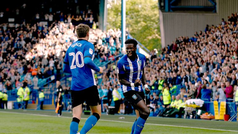 Lucas Joao celebrates scoring one of his two goals