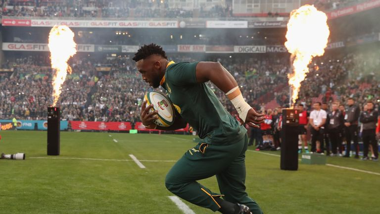 Siya Kolisi, the first non white South Africa Springbok captain leads out his team during the first test match between South Africa and England at Elllis Park on June 9, 2018 in Johannesburg, South Africa