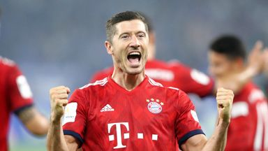 Robert Lewandowski  celebrates after scoring Bayern Munich's second goal