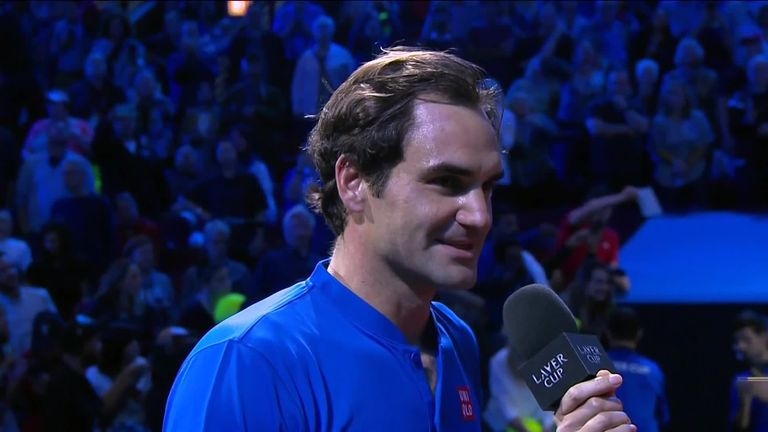 Federer thanked the Chicago crowd following a breathless match against Isner