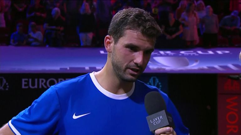 Dimitrov give his reaction after winning the Laver Cup opener for Team Europe