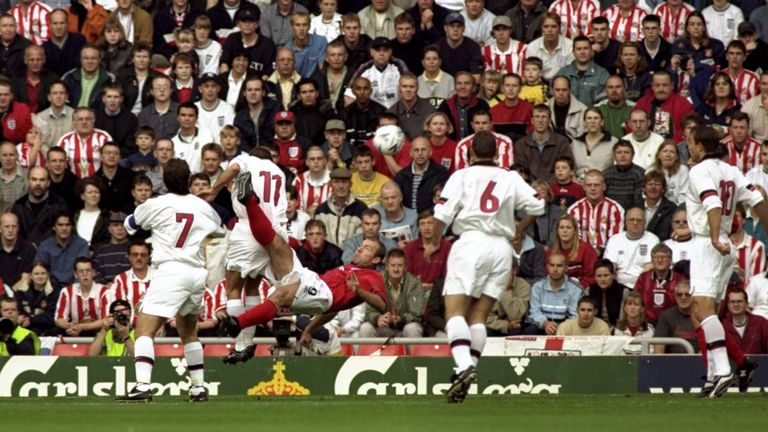 Newcastle hero Alan Shearer scores an overhead kick against Belgium in 1999 at Sunderland's Stadium of Light