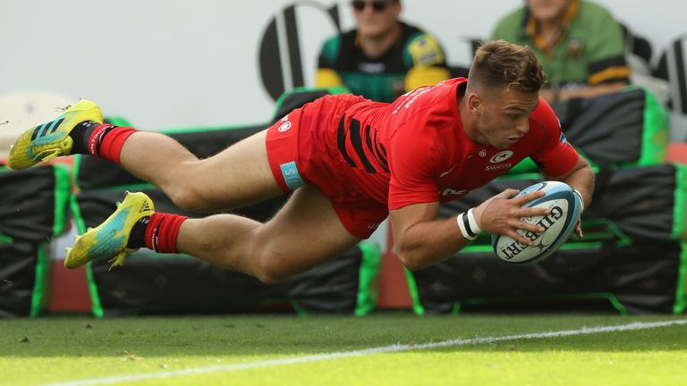 Alex Lewington scored another double for Saracens and has crossed five times in three rounds for his new side