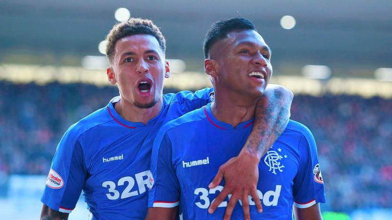 Alfredo Morelos (r) and James Tavernier (l) were both on target in Rangers' 5-1 win.