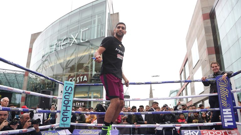 Khan in action at the public workout