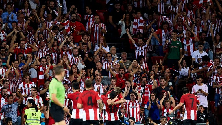 Athletic Bilbao celebrates after opening the scoring against Real Madrid