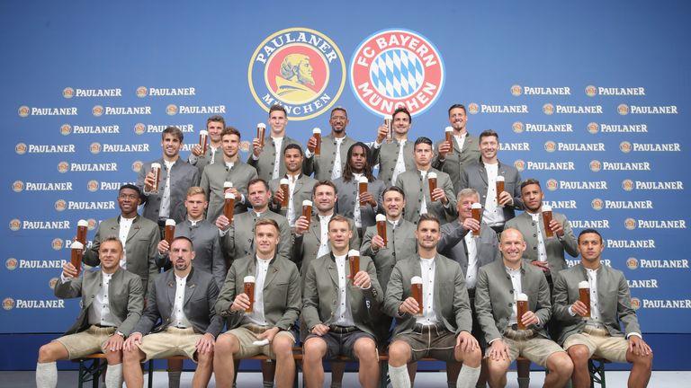 Bayern Munich gather for annual Lederhosen beer photoshoot ... bfc321b64