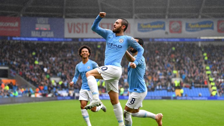 Bernardo Silva doubled Man City's lead three minutes after assisting Sergio Aguero