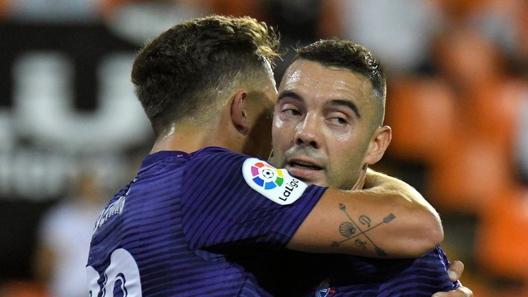 Celta Vigo's Iago Aspas celebrates his goal against Valencia