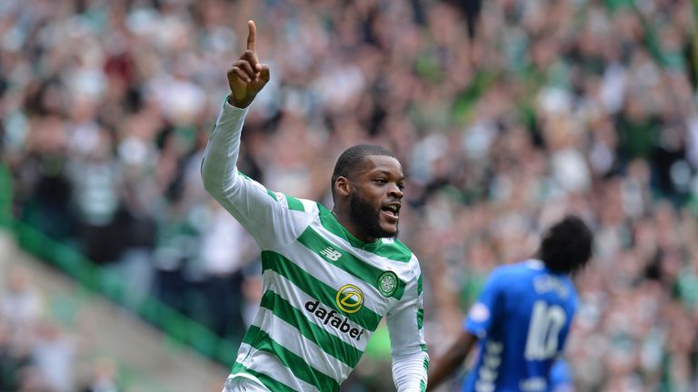 Olivier Ntcham celebrates a derby goal against Rangers