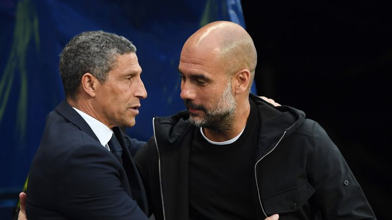 Chris Hughton has lauded Pep Guardiola for his impact on English football