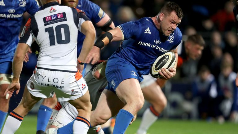 Cian Healy carries hard for Leinster