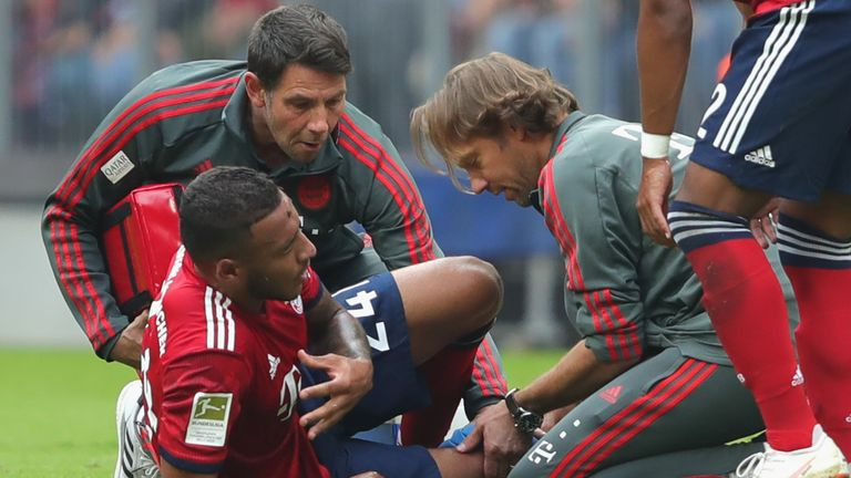 Corentin Tolisso was injured in Bayern Munich's 3-1 win on Saturday