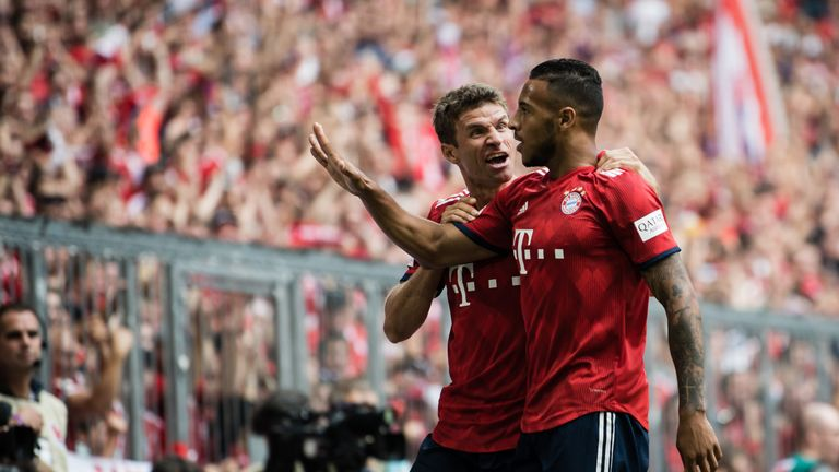 Tolisso celebrates levelling against Bayer Leverkusen