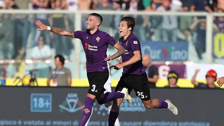 Cristiano Biraghi celebrates scoring for Fiorentina