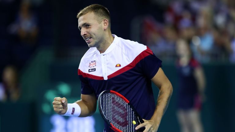 Dan Evans defeated Denis Istomin to hand Great Britain a 1-0 lead in the Davis Cup on Friday