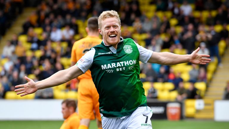 Hibernian's Daryl Horgan celebrates after opening the scoring