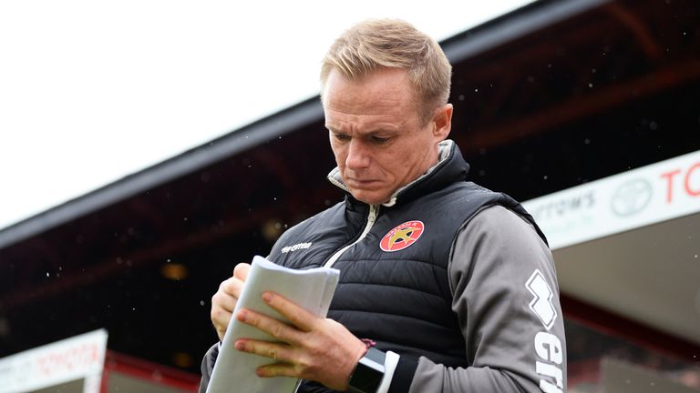 Keates makes notes during Walsall's 1-1 draw against in-form Barnsley