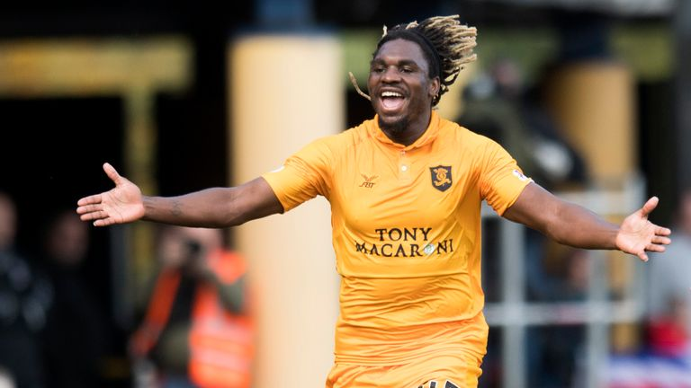 Livingston's Dolly Menga celebrates his goal against Rangers earlier this season