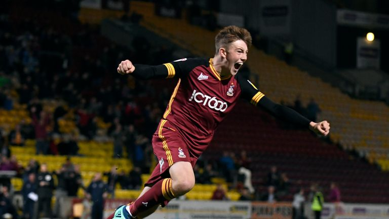 Eliot Goldthorp of Bradford City celebrates after scoring the winning penalty against Everton