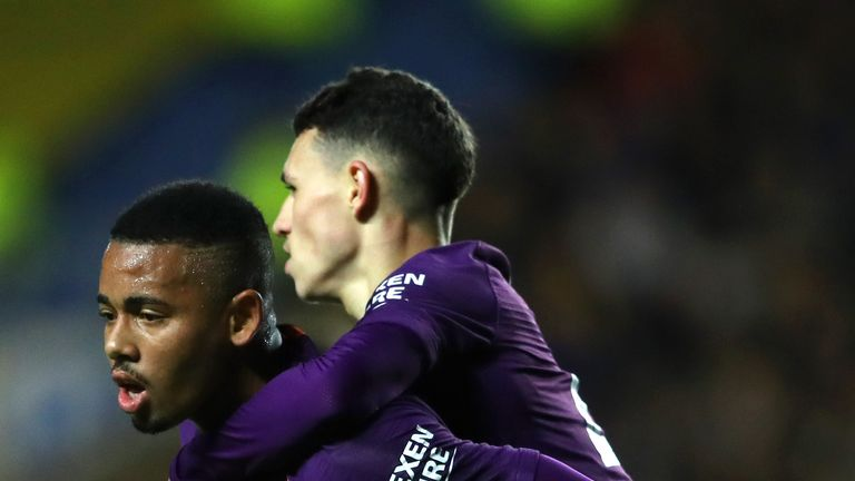 Foden celebrates with Gabriel Jesus