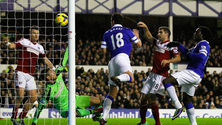 Gareth Barry scores during the last Goodison encounter - which Everton won 4-1