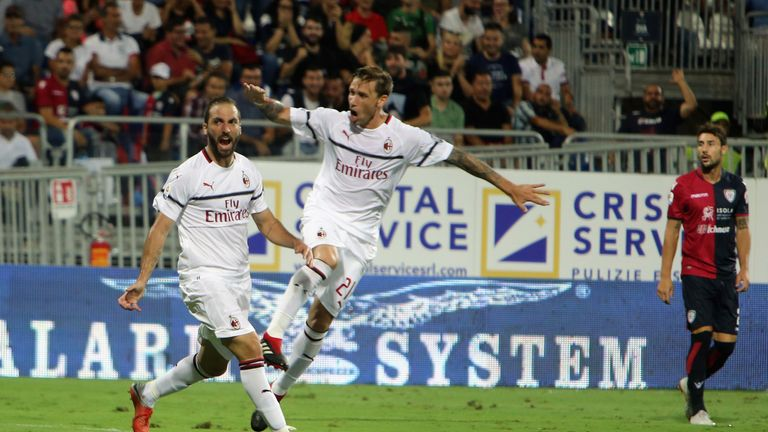 Gonzalo Higuain celebrates scoring for AC Milan
