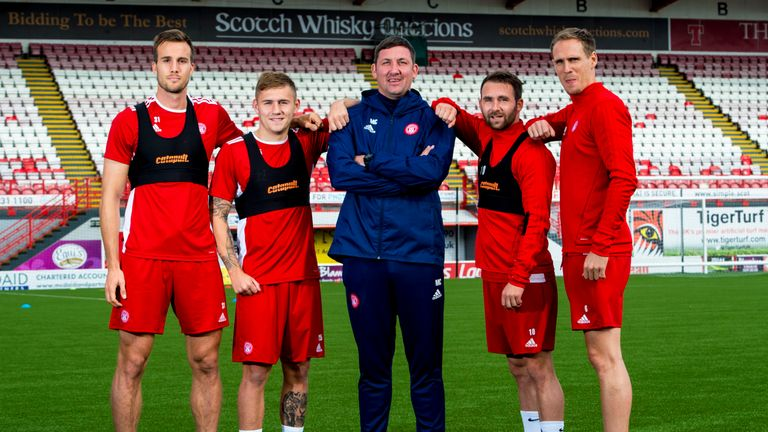 Hamilton Manager Martin Canning (centre) with summer signings Fredrik Brustad, Scott Martin, James Keatings and Matthew Kilgallon.