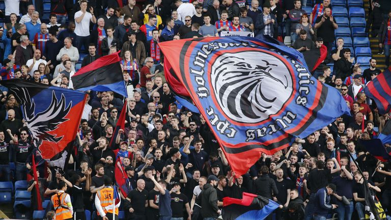 The  Holmesdale Fanatics show their support at Selhurst Park