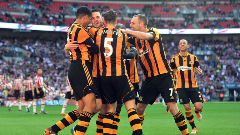 Fryatt celebrates scoring for Hull in the 2014 FA Cup semi-final at Wembley