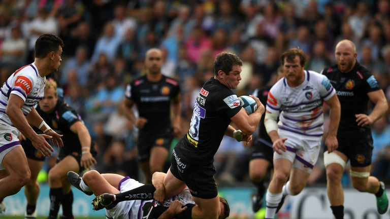 Exeter ran in four tries in the last 20 minutes against Leicester Tigers