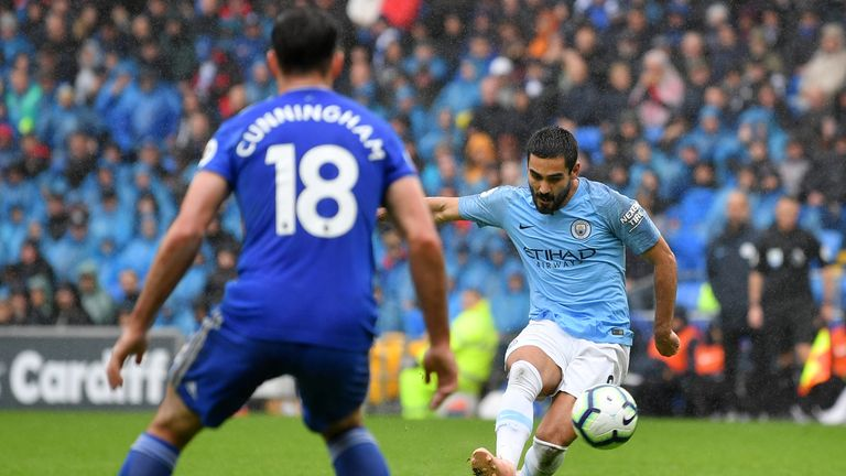 Ilkay Gundogan curled in a sensational effort just before half-time
