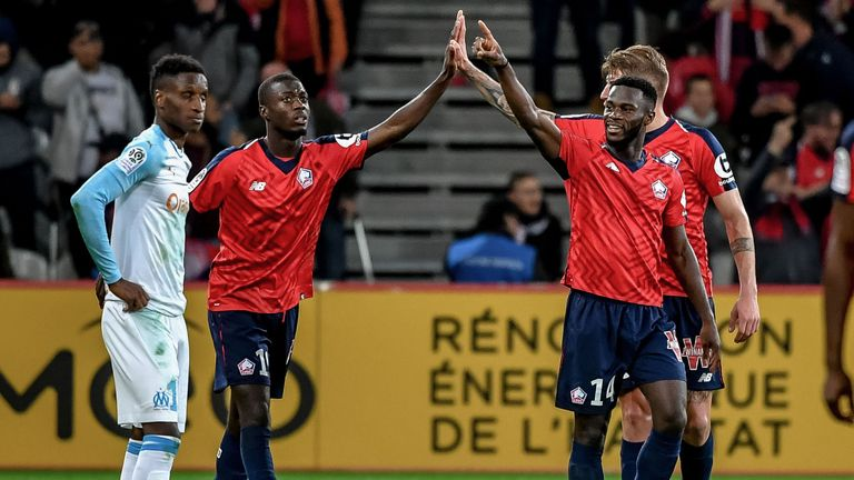Jonathan Bamba scored twice for Lille on Sunday
