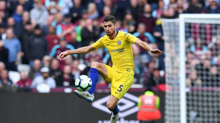 Chelsea's Jorginho in action against West Ham