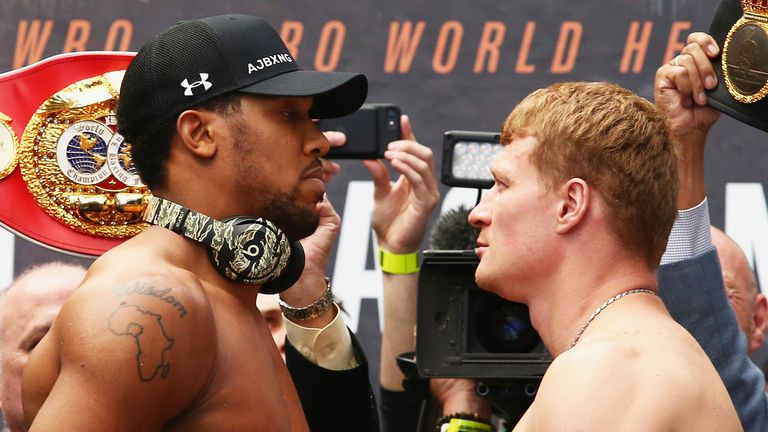 Joshua shared a final face-off with the Russian before their Wembley clash