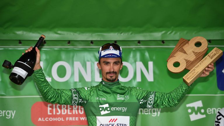 France's Julian Alaphilippe wrapped up overall victory at the OVO Energy Tour of Britain in London on Sunday