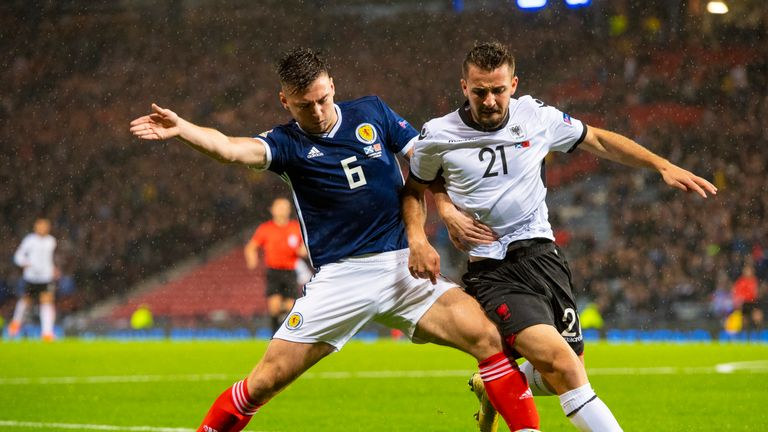 Scotland's Kieran Tierney holds off Albania's Enis Gavazaj