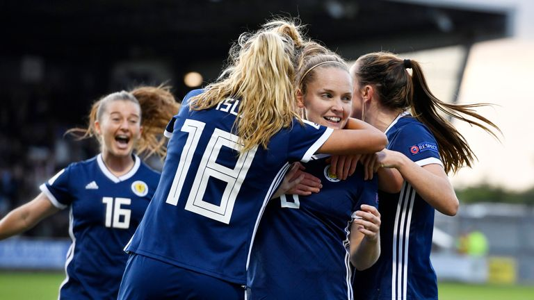 Kim Little scored Scotland's first as they claimed an historic win