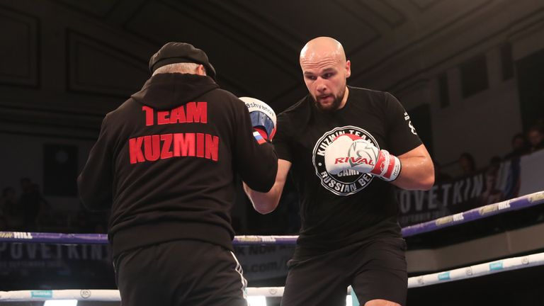 Kuzmin, unbeaten in 12 fights, smashes the pads