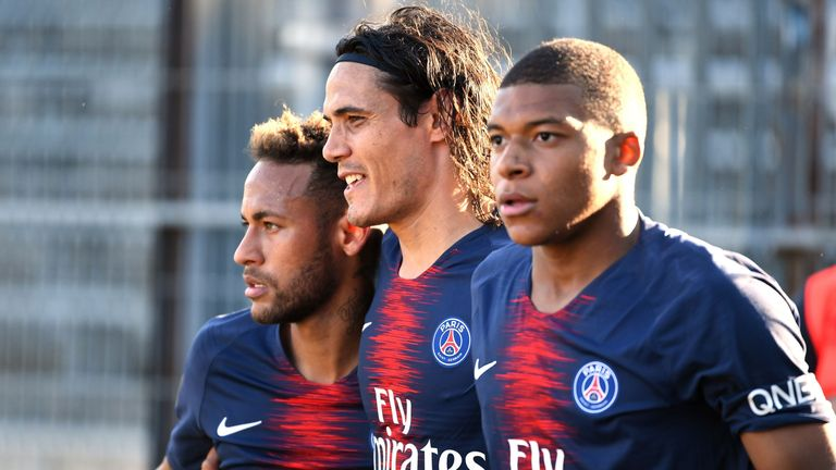 Liverpool's defence will need to keep an eye out on PSG attackers Neymar (left), Edinson Cavani (centre) and Kylian Mbappe