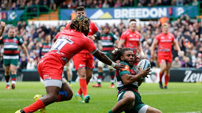 Kyle Eastmond of Leicester Tigers scored his side's only try