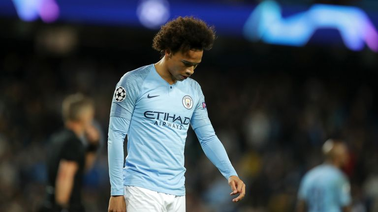 Leroy Sane during the Group F match of the UEFA Champions League between Manchester City and Olympique Lyonnais at Etihad Stadium on September 19, 2018 in Manchester, United Kingdom.