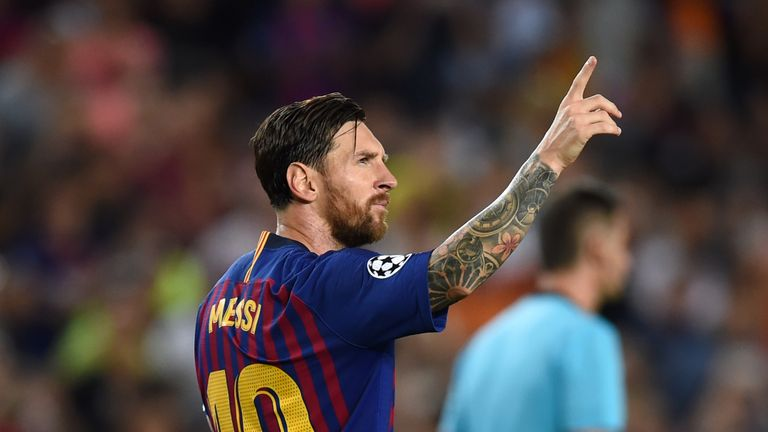 Lionel Messi during the Group B match of the UEFA Champions League between FC Barcelona and PSV at Camp Nou on September 18, 2018 in Barcelona, Spain.