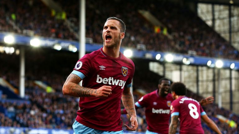 Arnautovic celebrates scoring for West Ham at Goodison