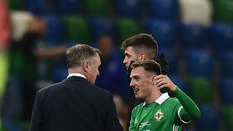 O'Neill congratulates goalscorer Whyte after Northern Ireland beat Israel