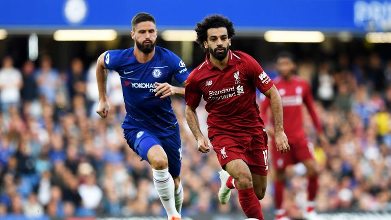Mohamed Salah and Olivier Giroud compete for possession