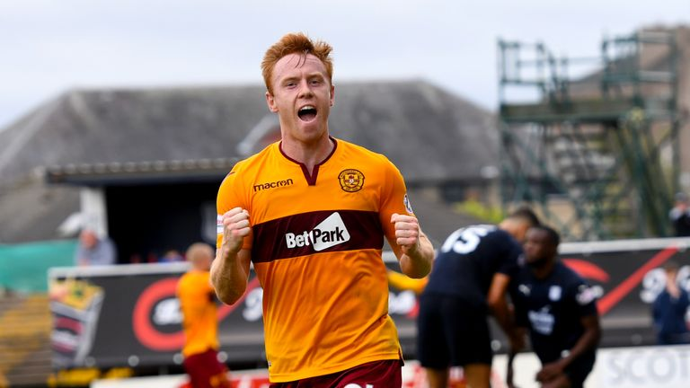 Motherwell's Danny Johnson celebrates scoring the first goal of the game