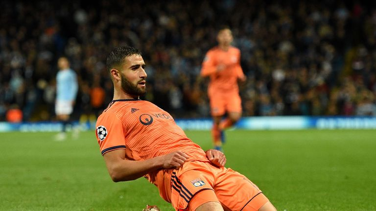 Nabil Fekir celebrates scoring for Lyon