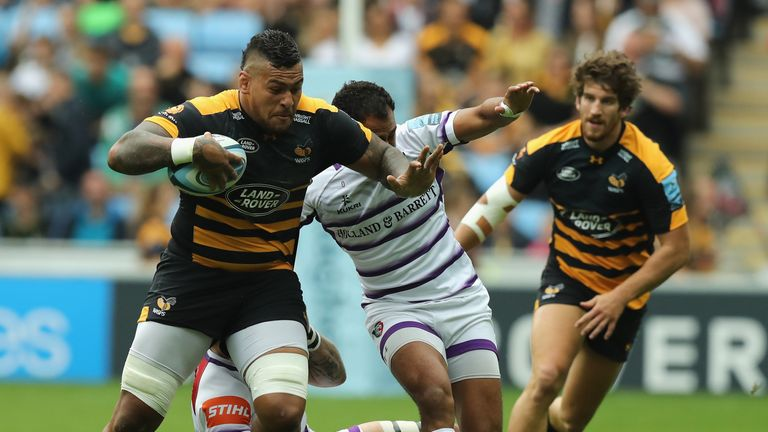 Nathan Hughes on a rampaging run for Wasps